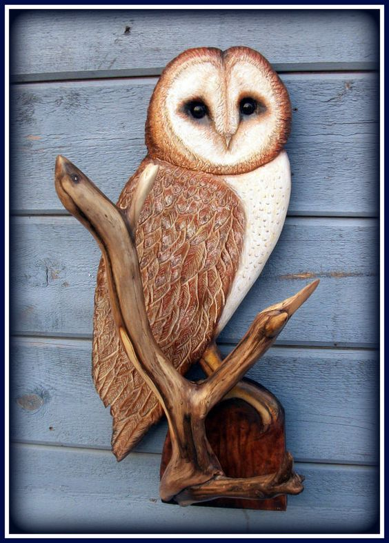 Barn Owl wood carving: