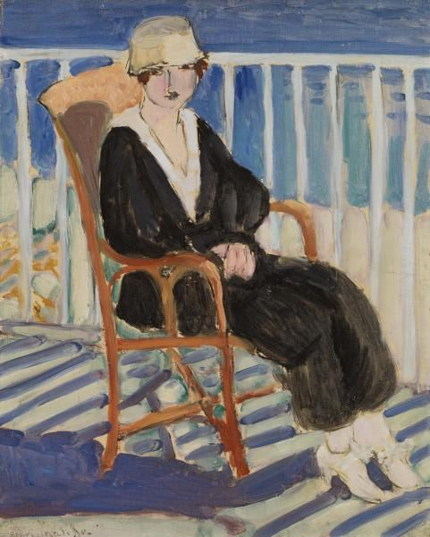 Young Girl on a Balcony over the Ocean (Jeune fille au balcon sur la mer), by  Henri Matisse (French, 1869-1954).