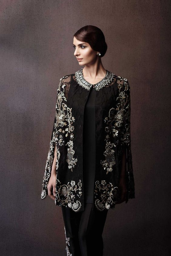 Stitching Styles Of Pakistani Dresses Black Jacket Style