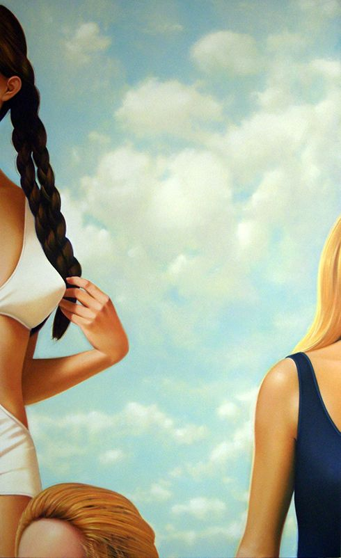 """James Rieck """"Sun and Swim"""" 2013, Oil on canvas, 72 x 44 in / 183 x 112 cm. Courtesy of Lyons Wier Gallery, New York"""