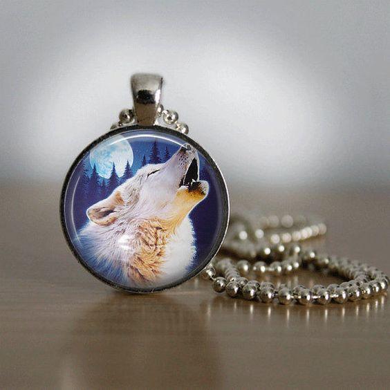 Magnifique collier fantaisie loup : Supports pendentifs, cabochons par elflea76