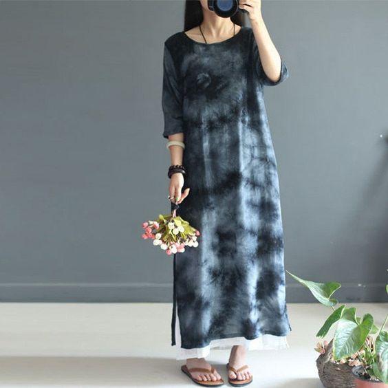 Women summer mixed color cotton linen dress