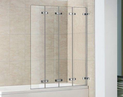 4 panel semi frameless folding bath screen bathroom. Black Bedroom Furniture Sets. Home Design Ideas