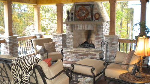 Rustic outdoor room traditional porch