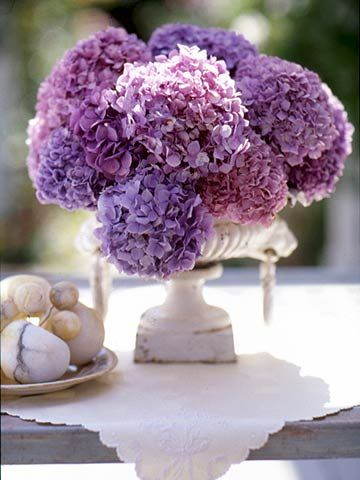 One Flower Extravaganza -   Hydrangeas bloom profusely in summer, making them a good choice for an at-home wedding.  This centerpiece sas created in an interesting urn.