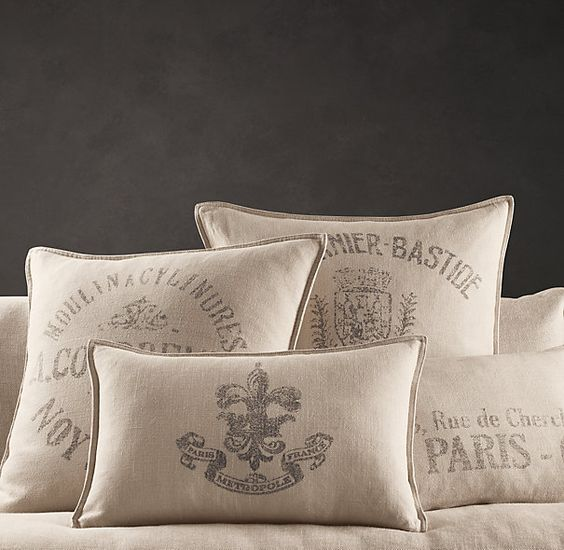 Restoration Hardware Pillows: French Words, Pillow Covers And Living Room Pillows On