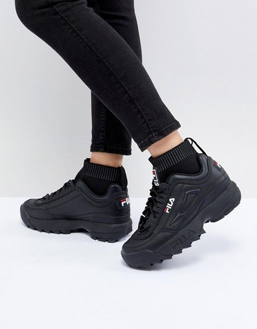 Fila | Fila Disruptor Sock Sneakers In Triple Black | Nails ...