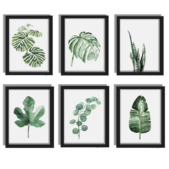 Modern Watercolor Green Plant Canvas Painting Palm Leaf Art Print