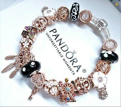 Ebay Ad Authentic Pandora Silver Charm Bracelet Rose Gold Black Murano Glass Beads Pandora Bracelet Designs Pandora Jewelry Charms Pandora Bracelet Silver