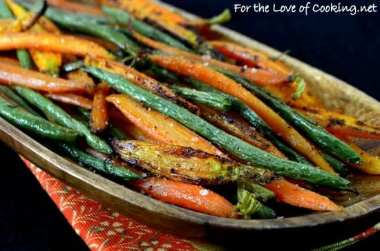 Simply Roasted Carrots And Green Beans Carrots Green Beans