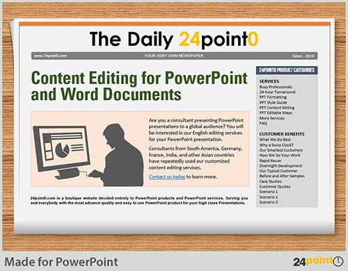 using editable newspaper powerpoint template in business, Modern powerpoint
