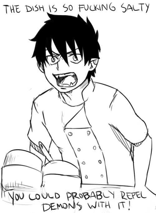 Rin the demon giving cooking advice, which is totally legit considering how well he can cook,: