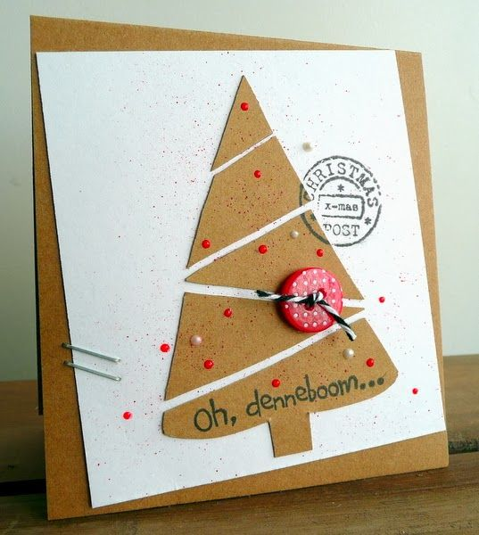 handmade Christmas card from Blog Blom ... kraft and white ... handcrafted look ... tree cut from kraft and then sliced to create diagonal lines  ... like the scattering of red pearl dots ... fun card!!