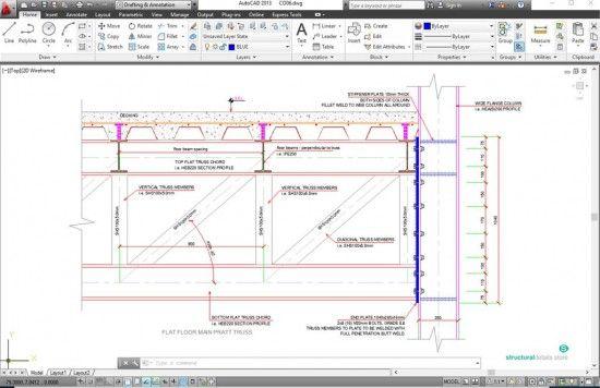 Steel Floor Flat Pratt Truss Support To Heb Column Steel Trusses Steel Columns Column