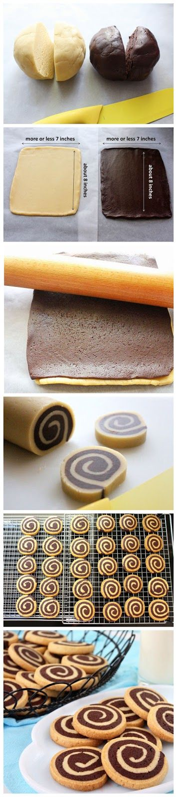 Chocolate Pinwheel Cookies-Ingredients: 1 cup butter 1 cup sugar 2 egg yolks 4 teaspoons vanilla 2 tablespoons milk 3 cups flour 1 tablespoon baking powder 6 tablespoons cocoa mixed with 2 tablespoons melted butter and 2 tablespoons milk. Bake at 163°C for 15 to 20 minutes..