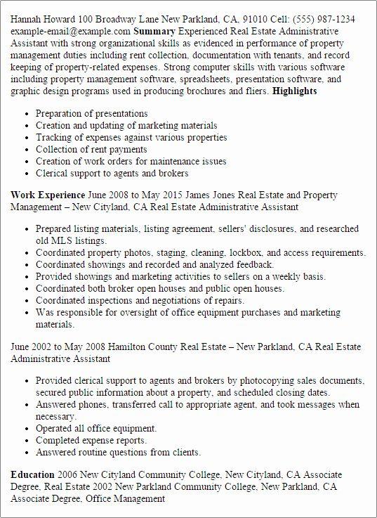 23 Real Estate Agent Resume Description In 2020 Assistant Jobs