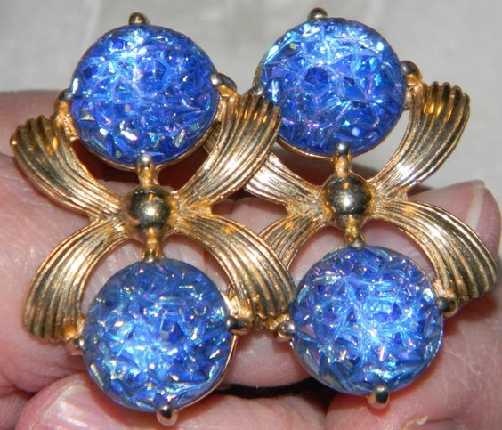Signed SCHIAPARELLI (ELSA) BLUE LAVA Stone VTG. GOLD Plated BIG Climber Earrings #SIGNEDSCHIAPARELLIELSA #CLIPS