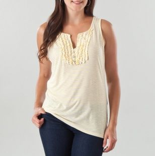 Racerback Stripe Tank with Ruffles and Rhinestone Buttons