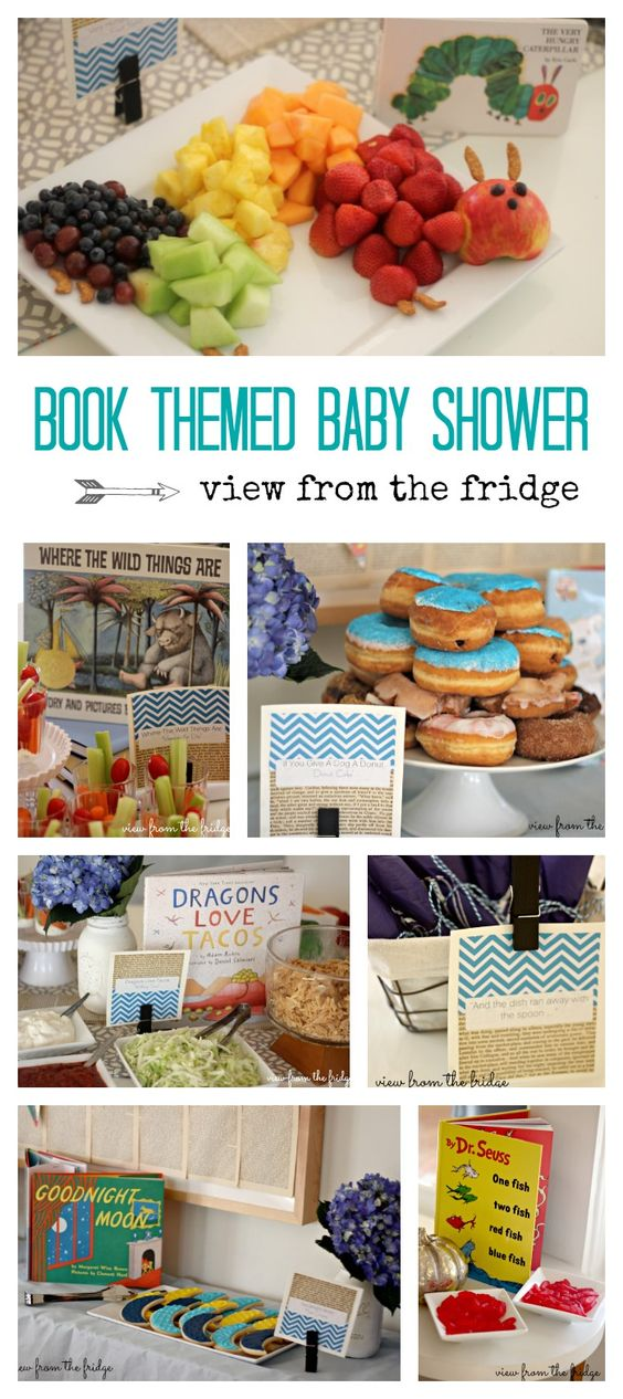 Book Themed Baby Shower.  Simple, but fun and festive ideas for a beautiful baby shower!  Via View From The Fridge!