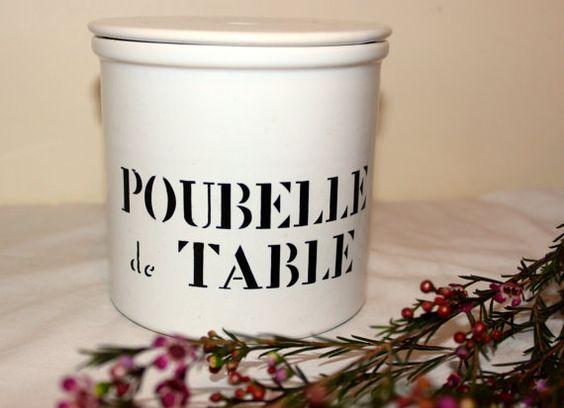 white vintage french ceramic 39 poubelle de table 39 table bin. Black Bedroom Furniture Sets. Home Design Ideas