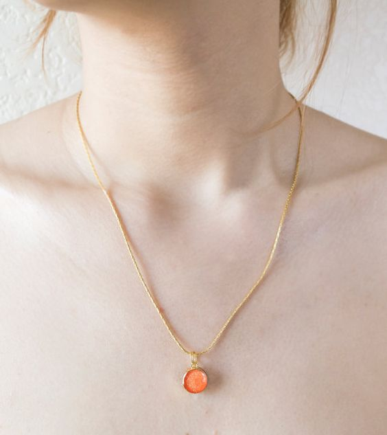 Gold Plated Necklace With Orange Round by JJLeatherAndCraft