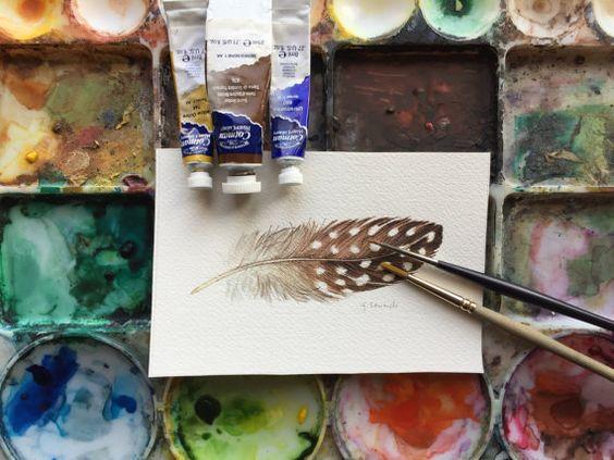 Il s'agit d'une étude d'aquarelle originale d'une plume de pintade.  Taille est 4 x 6 et est peint sur du papier aquarelle Arches Aquarelle. 140lb froid pressé Orientation horizontale/paysage  Signé par moi, lartiste