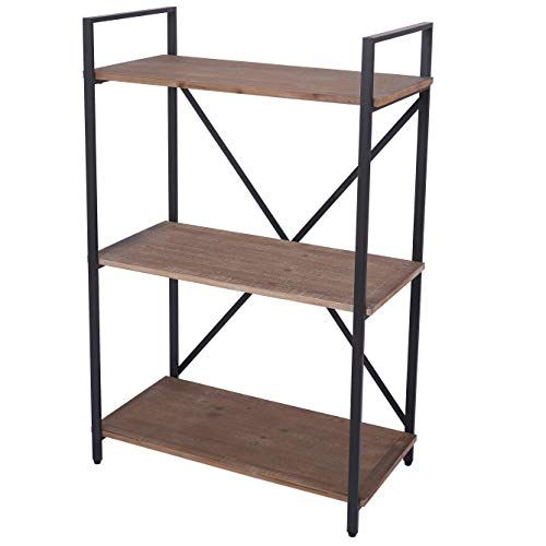 3 Tier Bookshelf Industrial Style Open Bookcase Rustic Display Shelves With Wood Book Shelf And Metal Frame Ritesune Bookcase Shelves Rack Shelf