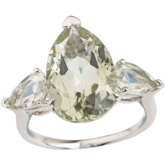 Emily Mortimer Jewellery - Aqua Prasiolite Pear Ring (€440) ❤ liked on Polyvore featuring jewelry, rings, pear cut ring, aqua jewelry, three stone ring, polish jewelry and green quartz jewelry: