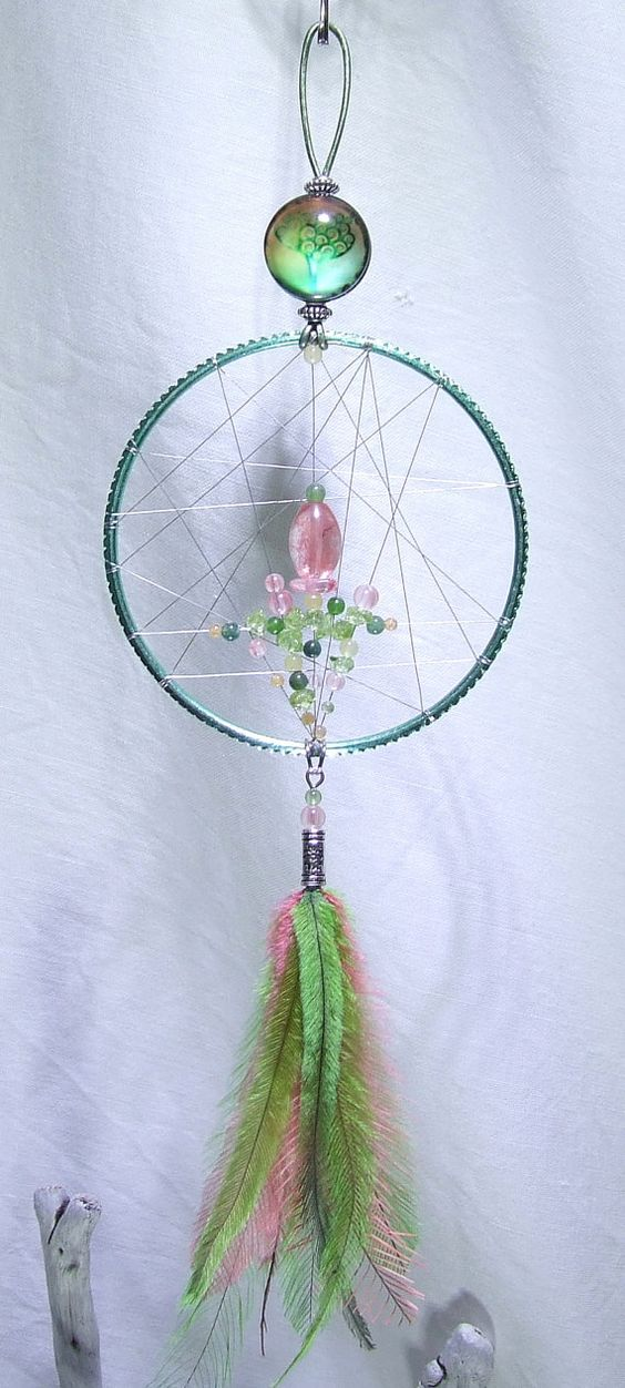 SALE 10% Off Tree of Life Dream Catcher Wall Hanging Cherry Quartz Peridot Yellow Honey Jade Green Moss Agate Abundance Amulet Watermelon
