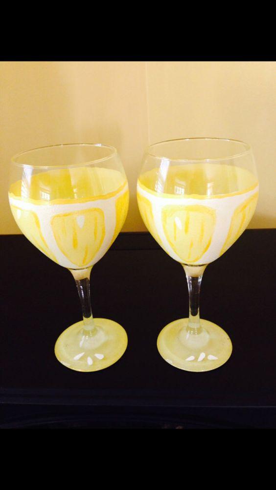 Lemon Wine Glasses! Hand painted! https://www.etsy.com/shop/Buttonwoodboutique
