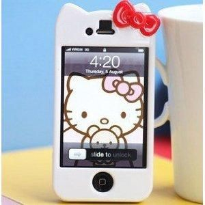 Newest iPhone 4G\ 4S Hello Kitty Face Hard Case\ Cover\ Protector(White Case with Red Bow)-by Kaleidoscope