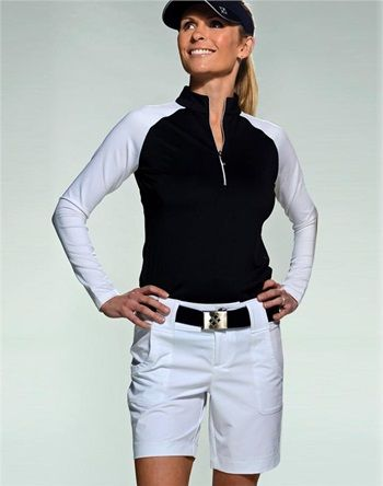 Whether we are playing golf or tennis on a chilly day, we need the Jofit Long Sleeve Mock Neck Shirt. Designed to flatter and function, this easy to wear piece is made from the moisture-wicking and quick dry Jo-Dry Jersey material. #golf #ootd #lorisgolfshoppe
