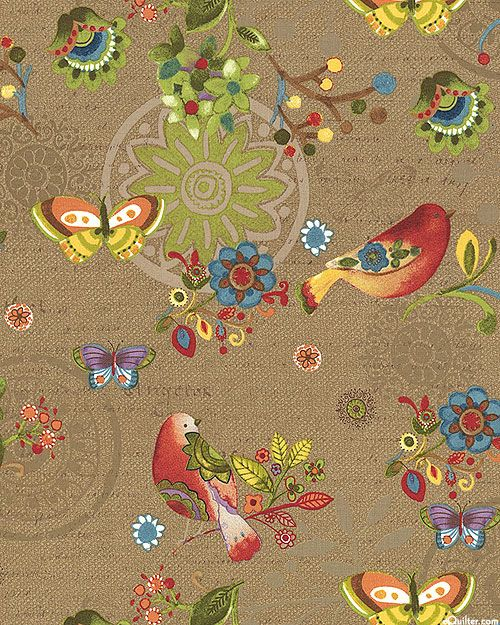 Bohemian Chic - Birds in a Folk Garden - Cocoa Brown