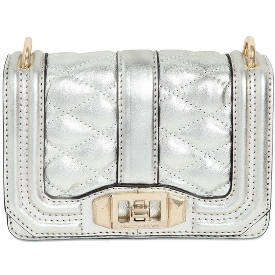 Rebecca Minkoff Women Mini Love Quilted Metallic Leather Bag (480 BAM) ❤ liked on Polyvore featuring bags, handbags, shoulder bags, gold, quilted chain strap shoulder bag, leather handbags, white handbags, genuine leather shoulder bag and chain shoulder bag