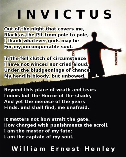 invictus analysis View homework help - invictus critical analysis from engineerin et2523 at hh browning alternative learning center invictus 2 invictus this is a poem of an unconquered man and how he is invincible of.
