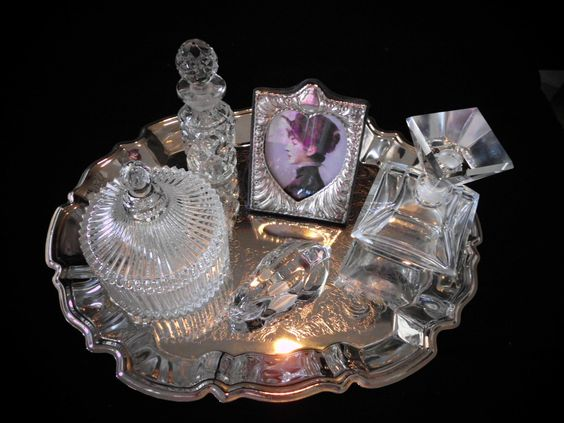 Boudoir:  #Vanity #Set: Silver Tray, Perfume Bottles, Powder Jar, Bunny, Picture Frame.