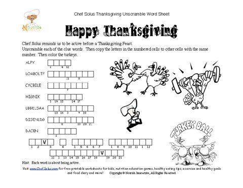 Chef Solus Hidden Message Thanksgiving Word Unscramble Fun ...