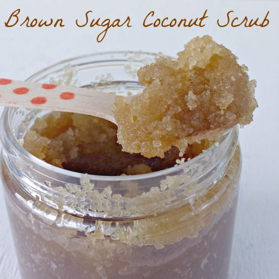 Make your own homemade brown sugar coconut scrub, it's so easy and makes a great gift