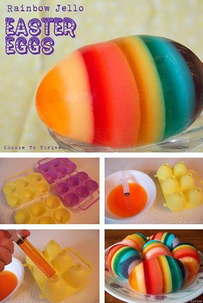 Rainbow Jello Easter Eggs: