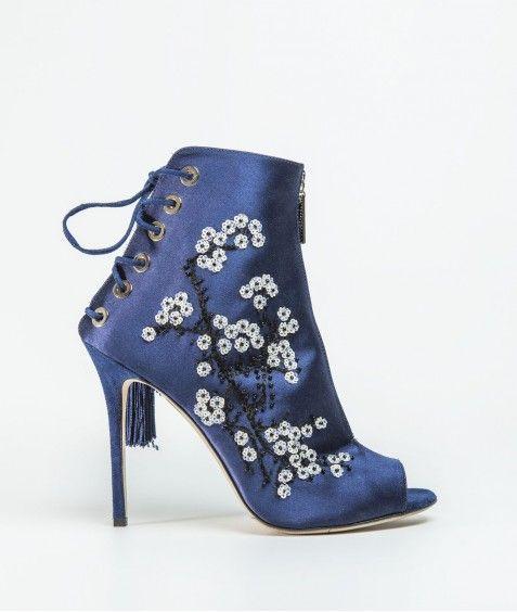 Chaussures ouverte montante zip milieu Bleu - ELISA. FRANCHI