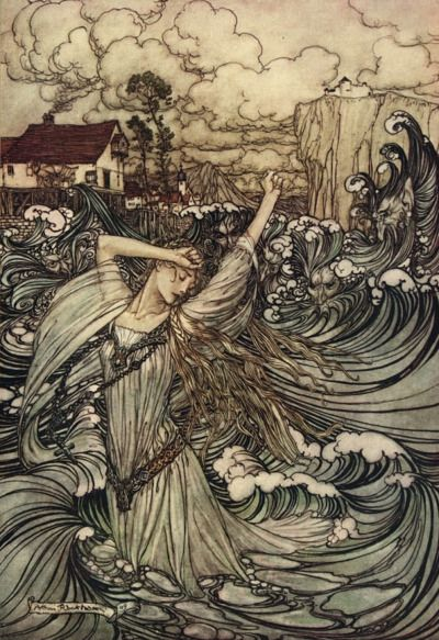 a-little-bit-pre-raphaelite Undine Lost in the Danube, 1909, Arthur Rackham: