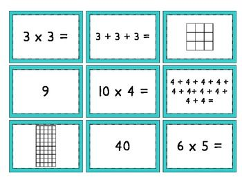Mult. Match Up {Multiplication, Repeated Addition, and Arrays - Oh ...