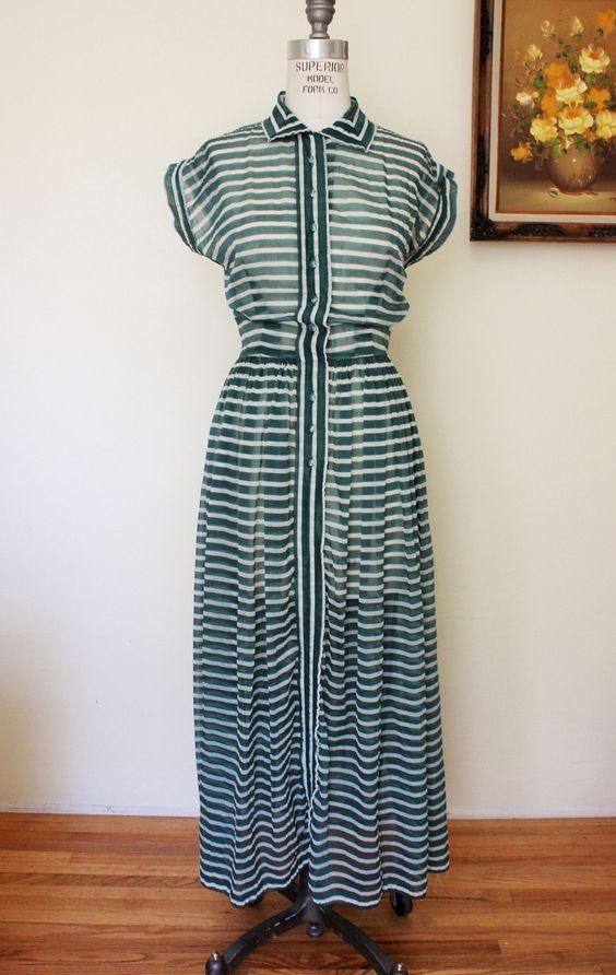 Vintage 1940s Sheer Striped Dress, Henry Rosenfeld Dress
