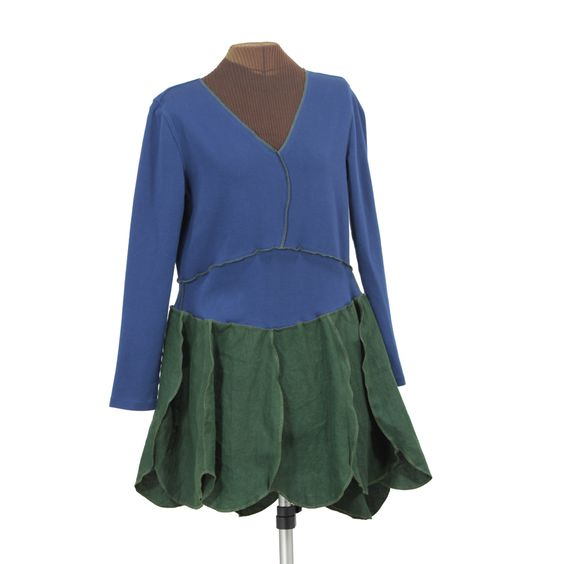 Secret Lentil Clothing - ON SALE! frondy tunic in blue and super concentrated olive green, $58.00