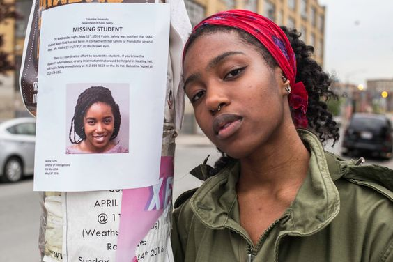 "5-29-16 - (#atiasmall) I wonder how many others that have gone ""Missing"" did what she did?) Nayla Kidd was an engineering student at Columbia University when reports that she had gone missing went viral. She was found perfectly healthy nearly two weeks later, only telling police she wante…"