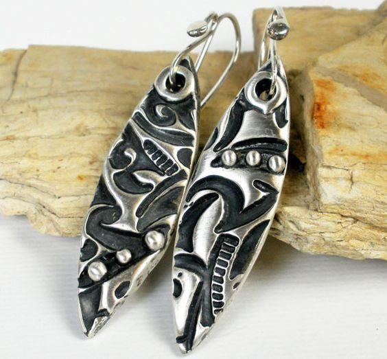 Fine Silver Dangle Earrings PMC Metalwork Jewelry by FebraRose, $79.00