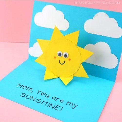 You Are My Sunshine Card Easy Pop Up Sun Card Template Pop Up Card Templates Pop Up Greeting Cards Kids Birthday Cards