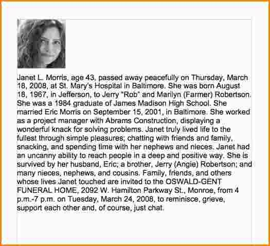 Sample Obituary For Mother Check More At Https Nationalgriefawarenessday Com 11329 Sample Obituary For Mother