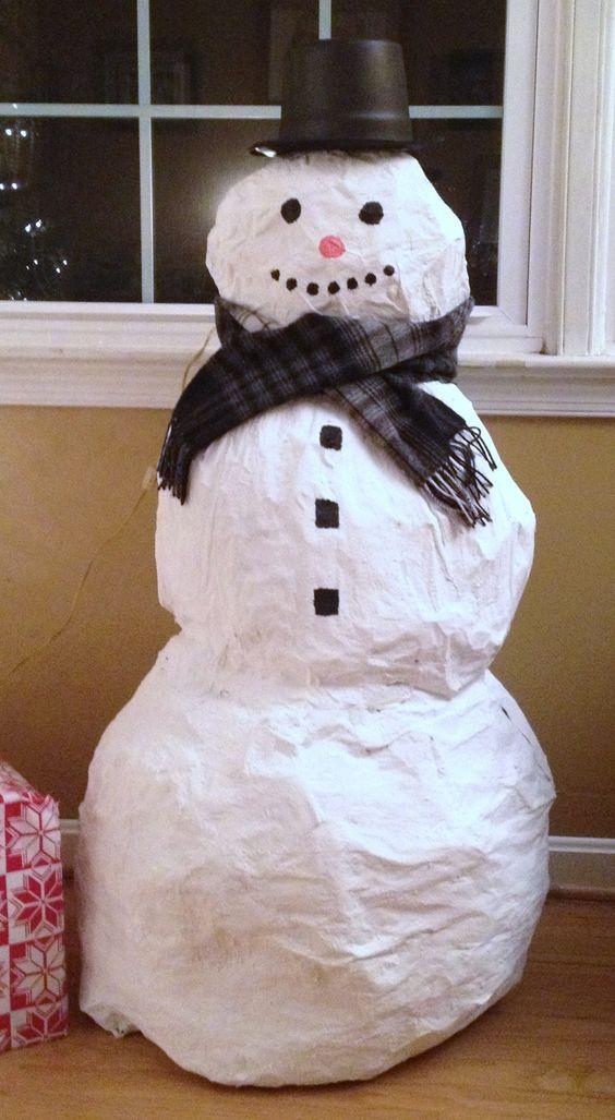 How to make a paper mache snowman snowmen pinterest for Paper mache christmas