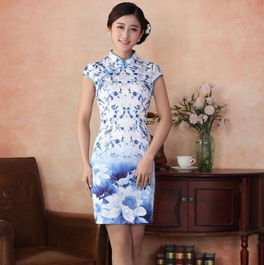 Blue and white floral Qipao Cheongsam